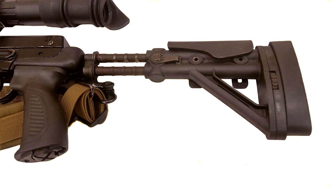 Складной телескопический приклад с регулируемой щекой и затыльником для СВД, ТИГР, TG3